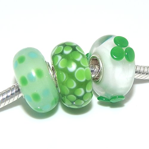 925 Solid Sterling Silver Set of Three Irish Green Glass Charm Beads (Green Pot O Gold Glasses)