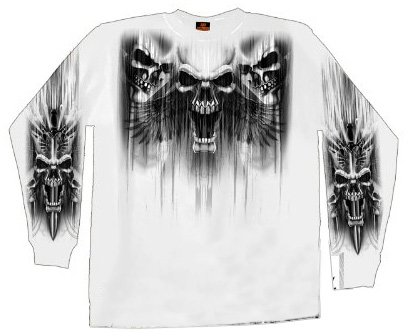 Hot Leathers Skull Dagger Double Sided Long Sleeve T-Shirt (White, X-Large)