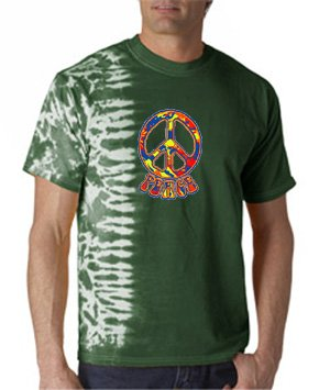 Funky 70S Peace Sign Fusion Adult Tie Dye Symbol T-Shirt - Forest Green, 2Xl