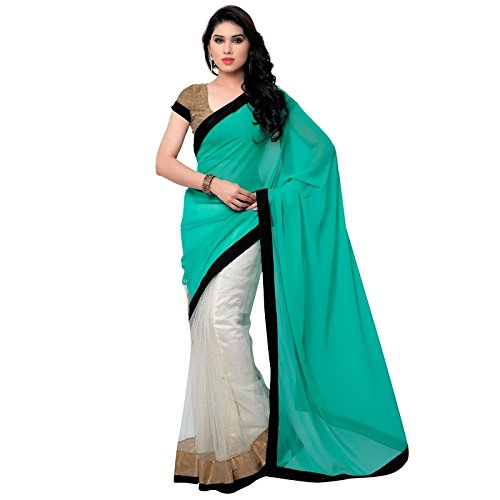 Saree (Satya Sita Women's Designer Light Green Georgette & Net Fashion Half & Half Saree with Blouse Peice)  available at amazon for Rs.425