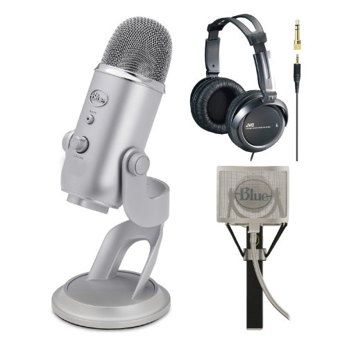 Blue Microphones Yeti Usb Condenser Plug-And-Play Microphone + The Pop Universal Pop Filter & Jvc Full-Size Headphones (Black)