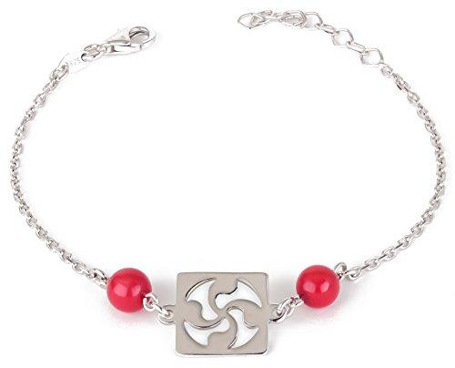 Adens-Jewels-Bijoux-Basques-Croix-Basque-Bracelet-Argent-Femme-Corail-Rglable-Dimension-Longueur-rglable-de-16--19-cm