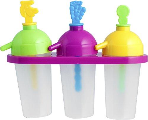 Home Formaghiaccioli in Plastica, 3 Posti, con Cannuccia, Multicolore