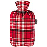 Fashy Tartan Covered Hot Water Bottle, Red, 2 Litre