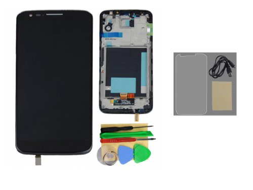 Black Lcd Touch Screen Digitizer Assembly + Frame +Protector+Usb Cable For Lg Optimus G2 D800 D801