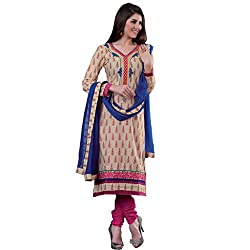 Simplistic Beige & Pink Coloured Embroidered Dress Material