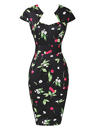 Vintage Floral Cocktail Dresses Cap Sleeve XXL
