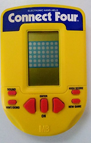 1995 Milton Bradley Company Mb Milton Bradley Connect Four Lcd Electronic Hand-Held#4634 (Yellow Body Version With Reddish Buttons And White/Blue Lettering On Top)