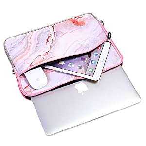 4 in 1 Bundle Plastic Hard Shell Case with Sleeve, Keyboard Cover and Screen Protector Compatible MacBook Air 13 Inch A1466/A1369 (No Touch ID) (Pink Marble) (Color: Pink Marble with Sleeve, Keyboard Cover and Screen Protector, Tamaño: A1466/A1369 Air 13 (No Touch ID))