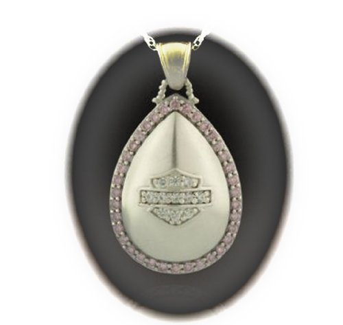 Harley-Davidson® Stamper® Women's Sterling Silver Necklace. White and Pink Cubic Zirconia's. NCR0004