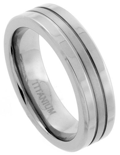 Titanium 6mm Flat Wedding Band Ring Matte Stripe Center Comfort-fit, size 13