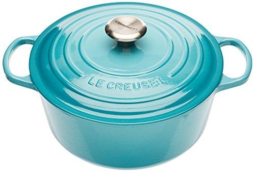 Le Creuset 21177241702430 Signature Cocotte Rond Fonte Bleu Caraïbe 24 cm