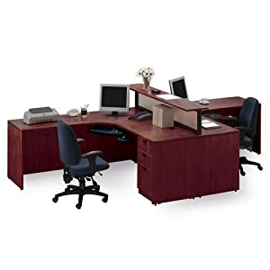 Cherry Two Person Workstation with Divider Cherry Finish