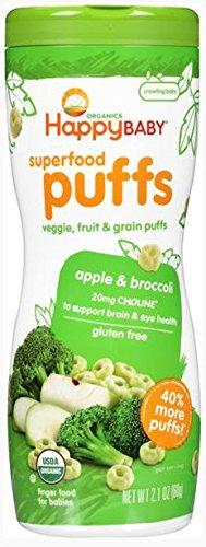 Happy Baby Puffs, Apple & Broccoli, Organic, 2.1 oz - 1