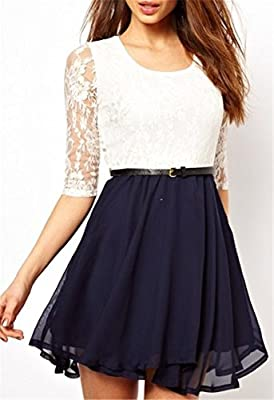 Floral Lace Overlay Top Chiffon Patchwork Mini A Line Dress White Dark Blue