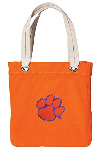 Clemson NEON Orange Cotton Tote Bag Clemson Tigers Shopping - Travel Beach Bags ncaa clemson tigers garden flag