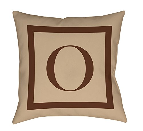 Thumbprintz Square Indoor/Outdoor Pillow, 20-Inch, Monogrammed Letter O, Caramel Classic Block front-482685