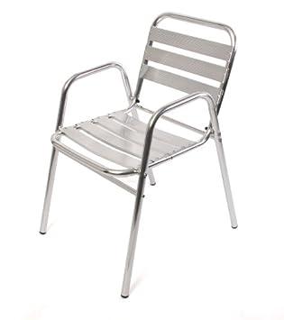 bistro garnitur garten sitzgruppe aluminium stapelbar tisch eckig 4x stuhl dc316. Black Bedroom Furniture Sets. Home Design Ideas