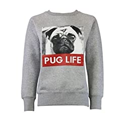 Lollipop Clothing Womens Pug Life Jumper Sweater Top Dogs Cute Graphic Girls Puppy Slogan Logo