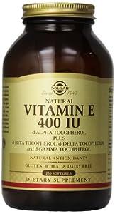 Solgar Vitamin E 400 IU Mixed Softgels D-Alpha Tocopherol and Mixed Tocopherols, 250 Count