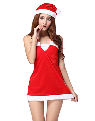 Fllt Women's Girls Santa Cosplay Costume Sweetie Christmas Skirt Dress Suits