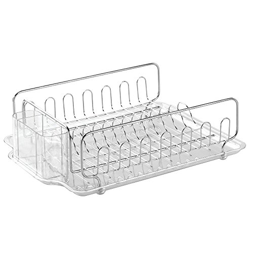 InterDesign Forma Kitchen Dish Drainer Rack with Tray for Drying Glasses, Silverware, Bowls, Plates - Stainless Steel/Clear (Stainless Dish Drying Rack compare prices)