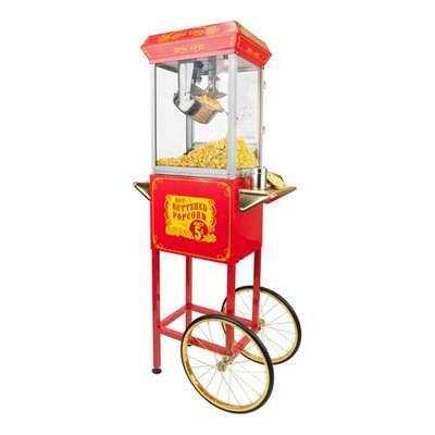 FunTime Sideshow Popper 8-Ounce Hot Oil Popcorn Machine with Cart, Red/Gold (Gold Metal Popcorn Kit compare prices)
