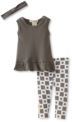 L'Ovedbaby Baby-Girls Newborn Dress And Leggings With Headband Set, Gray, 9-12 Months front-870071