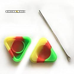 StayGolden Dab Scrape Stainless Steel Tip Dabbing Wax EarWax Carving Tool With One Random Colored Triangular Non-Stick Food Grade Silicone Dab/Wax/Oil Containers Non Stick Multi Use Storage Jar