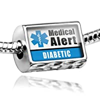 "Neonblond Beads Medical Alert Blue ""Diabetic"" - Fits Pandora Charm Bracelet from NEONBLOND Jewelry & Accessories"
