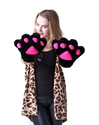 HDE Adult Halloween Costume Cosplay Cute Soft Kitty Cat Girl Paw Gloves (Black)