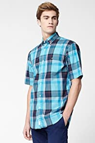 Short Sleeve Bold Plaid Poplin Woven Shirt
