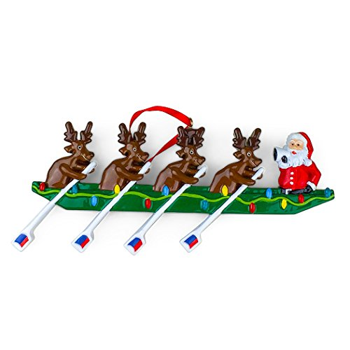 Rowing Reindeer | Crew Resin Christmas Ornament | by ChalkTalkSPORTS