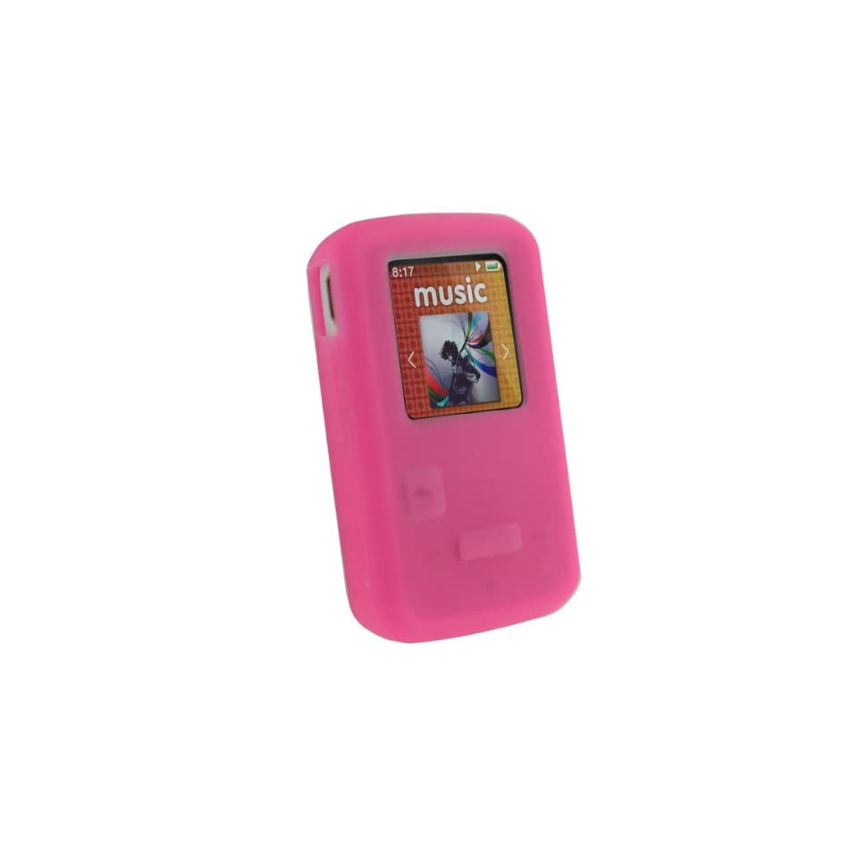 iGadgitz Pink Silicone Skin Case Cover for SanDisk Sansa