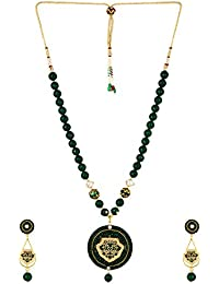 Aradhya Designer Thewa Art Necklace With High High Grade Onyx Stone Beads Necklace With Earrings For Women And...