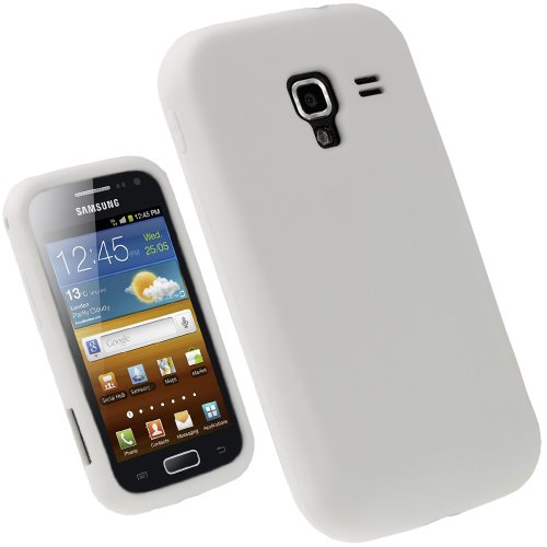 igadgitz Weiß Weiss Silikon Tasche Hülle Schutzhülle Etui für Samsung Galaxy Ace 2 I8160 Android Smartphone Handy + Display Schutzfolie