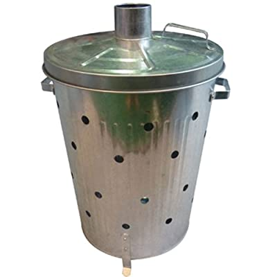 Harewood Galvanised Incinerator - 75l Garden Fire Bin Leaves And Waste Burner from Harewood By Home Discount Ltd