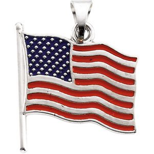 14k White Gold American Flag Pendant 17.5x17mm Color - JewelryWeb