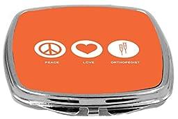 Rikki Knight Peace Love Orthopedist Design Compact Mirror, Orange, 2 Ounce