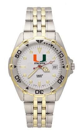 Miami Hurricanes U with Miami All Star Watch with Stainless Steel Band - Mens by Logo Art