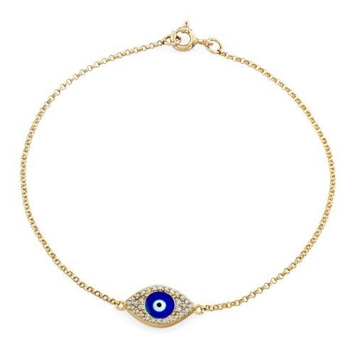 """Victoria Kay 14K Yellow Gold Diamond Enamel Evil Eye Bracelet (1/8Cttw, Jk, I2-I3) 6 7/8"""""""