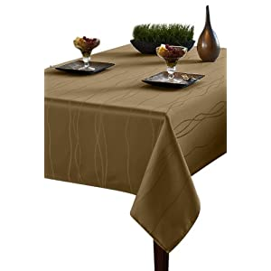 Amazon.com - Benson Mills Gourmet Spillproof Heavy Weight Fabric Tablecloth, Linen, 60-inch by 84-inch images