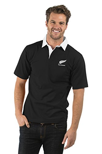Nuova Zelanda Manica Corta Rubgy Camicia - New Zealand Short Sleeve Rugby Shirt - Uomo & Donna - Colore Nero - XS a 2XL (Nero, M)