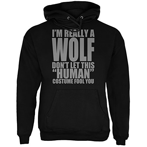Halloween Human Wolf Costume Black Adult Hoodie