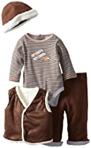 Little Me Baby-Boys Newborn Flyer Vest Pant Set and Hat, Brown Multi, 3 Months