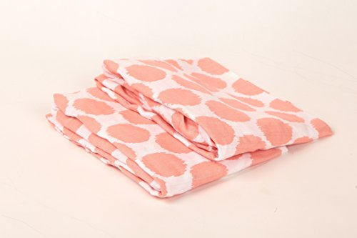 Bacati Ikat Coral Dots 2 Pc Muslin Crib Sheets