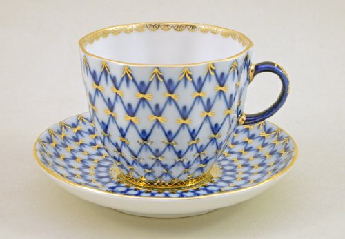 Cobalt Net Tulip Coffee Cup And Saucer-