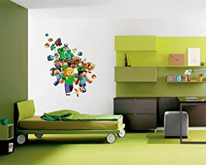 MINECRAFT XBOX GAME FULL COLOUR WALL STICKER BOYS BEDROOM ...