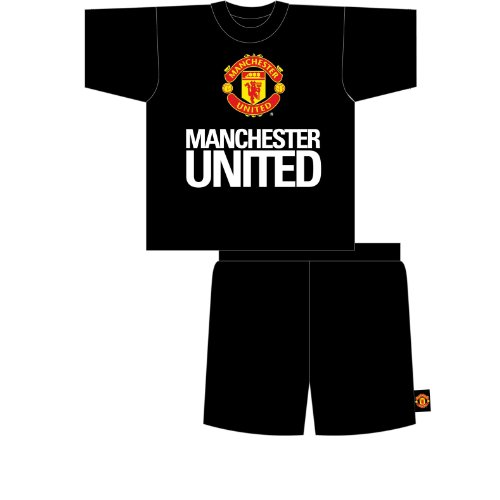 Mens Manchester United Football Shorts T-Shirt Nightwear Pyjamas Set (Large) (Black)