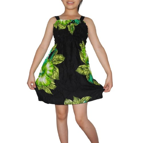 Girls Thai Exotic Gathered / Smocked Bodice Flowing Summer Tank Dress - Size: 1-2
